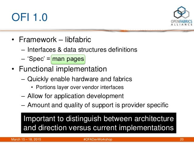 OFI 1.0 • Framework – libfabric – Interfaces & data structures definitions – 'Spec' = man pages • Functional implementatio...