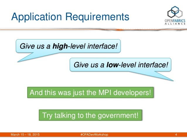 Application Requirements March 15 – 18, 2015 #OFADevWorkshop 4 Give us a high-level interface! Give us a low-level interfa...