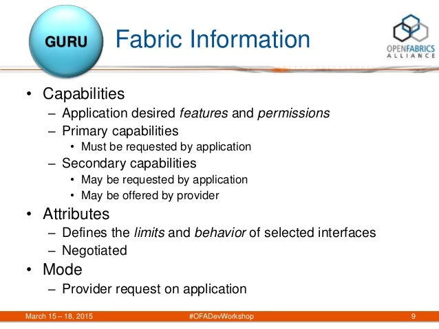 Fabric Information March 15 – 18, 2015 #OFADevWorkshop 9 GURU • Capabilities – Application desired features and permission...