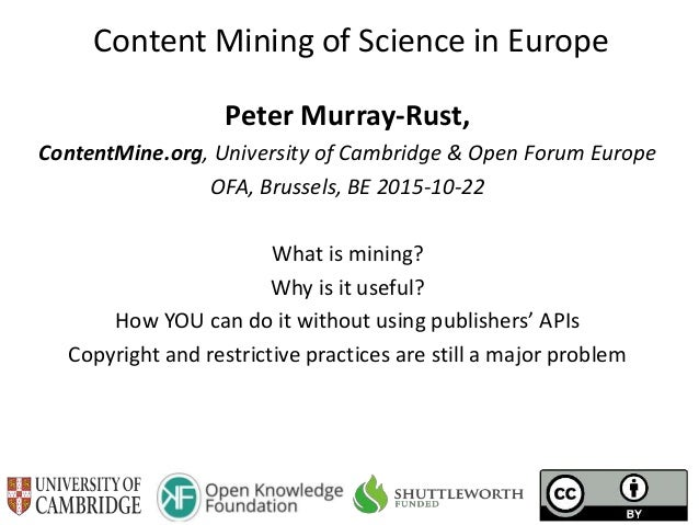 Content Mining of Science in Europe