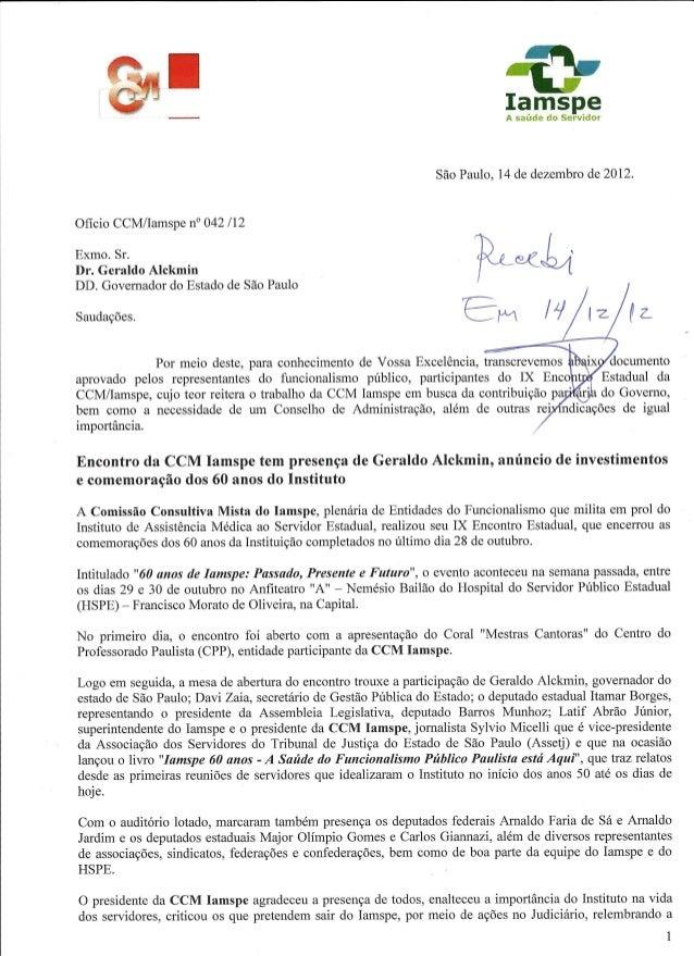 Ofício entregue ao Governador Geraldo Alckmin pela CCM IAMSPE - 14/12/2012