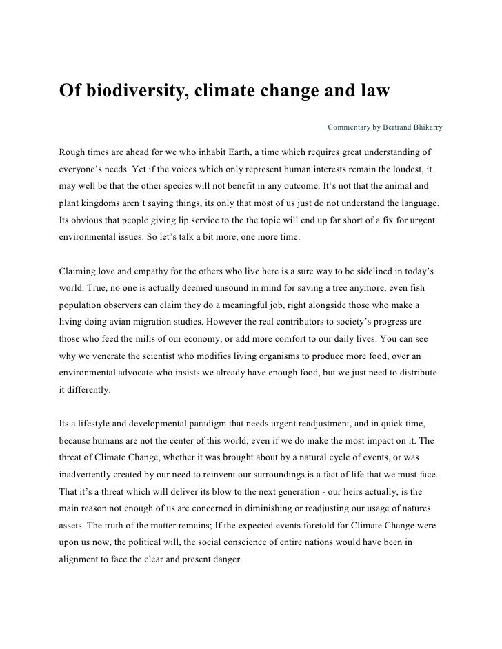 Of biodiversity, climate change and law                                                                         Commentary...