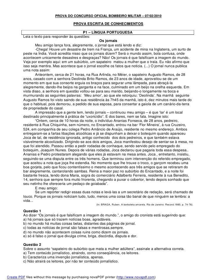 PROVA DO CONCURSO OFICIAL BOMBEIRO MILITAR – 07/02/2010                                         PROVA ESCRITA DE CONHECIME...