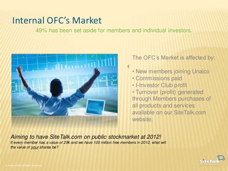 Internal OFC's Market                             49% has been set aside for members and individual investors.            ...
