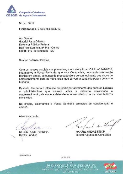 Oficio enviado a Casan sobre Projeto Anitápolis
