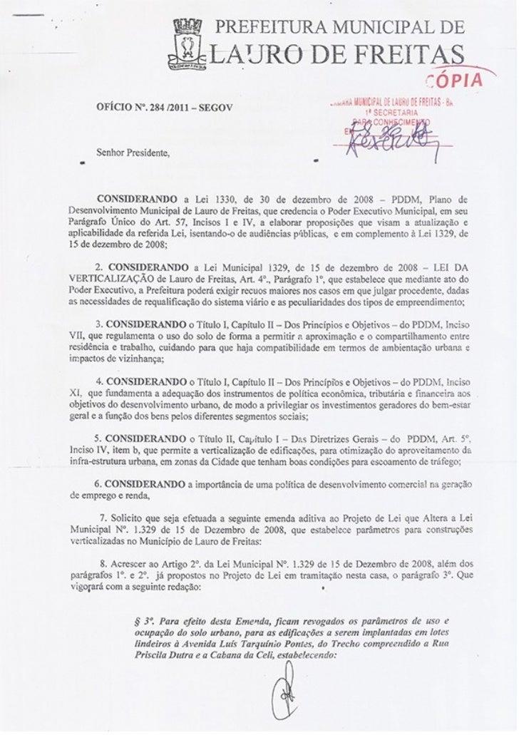Ofício 284/2011 SEGOV