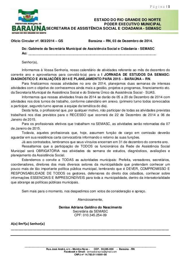 P á g i n a | 1  ESTADO DO RIO GRANDE DO NORTE  PODER EXECUTIVO MUNICIPAL  SECRETARIA DE ASSISTÊNCIA SOCIAL E CIDADANIA - ...