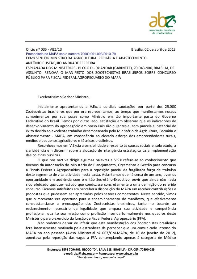 Ofício nº 035 - ABZ/13                                                   Brasília, 02 de abril de 2013Protocolado no MAPA ...