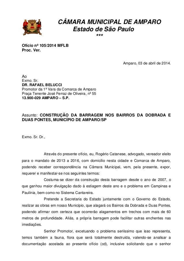 CÂMARA MUNICIPAL DE AMPARO Estado de São Paulo *** Ofício nº 105/2014 MFLB Proc. Ver. Amparo, 03 de abril de 2014. Ao Exmo...