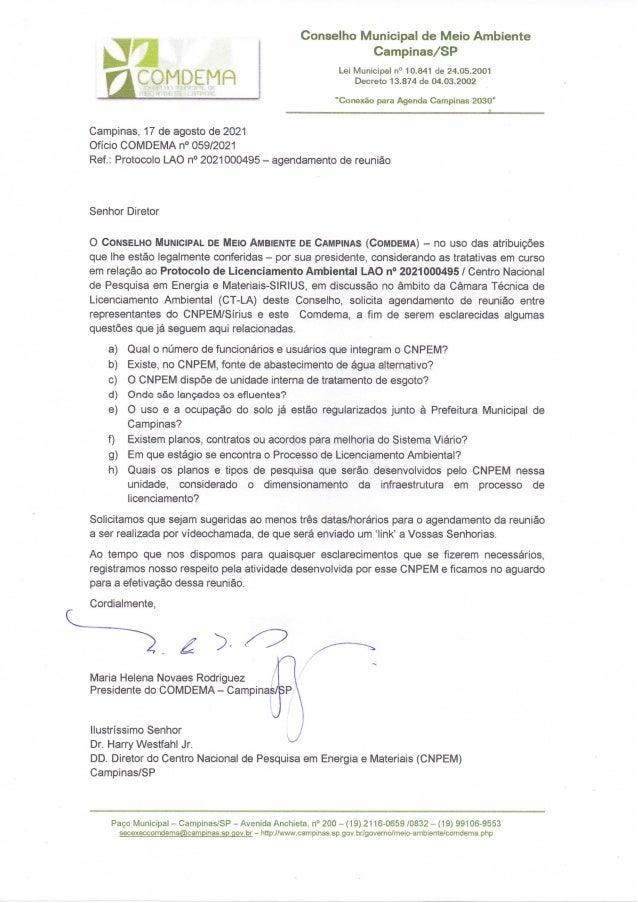 Comdema ofício CNPEM reunião 3/9/21