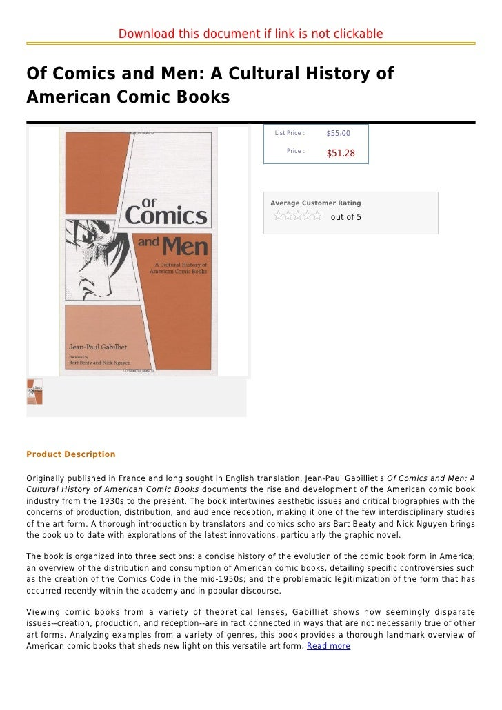 Download this document if link is not clickableOf Comics and Men: A Cultural History ofAmerican Comic Books               ...