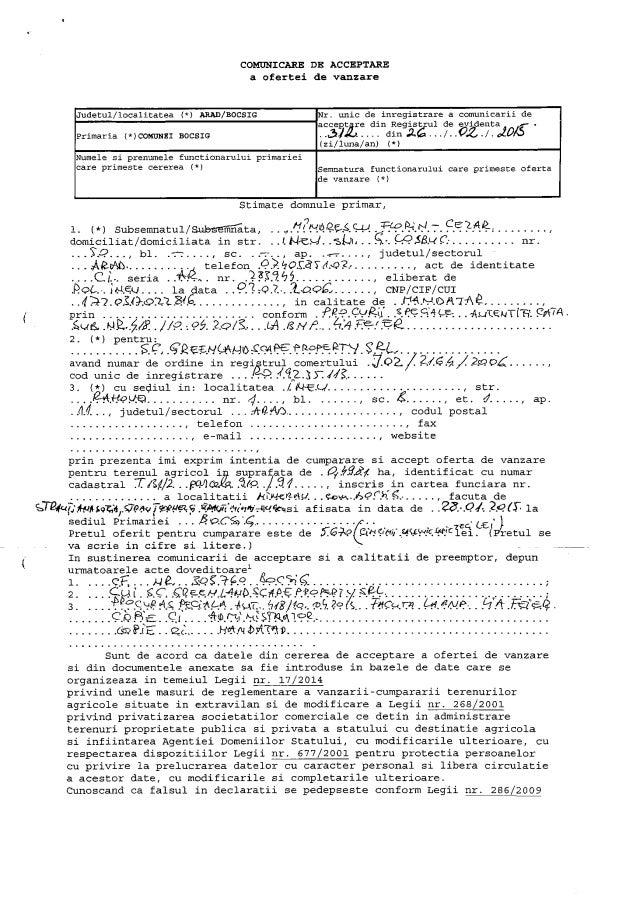COMUNICARE DE ACCEPTARE a ofertei de vanzare  Judetul/ localitatea (*) ARAD/ BOCSIG r.  unic de inregistrare a comunicarii...
