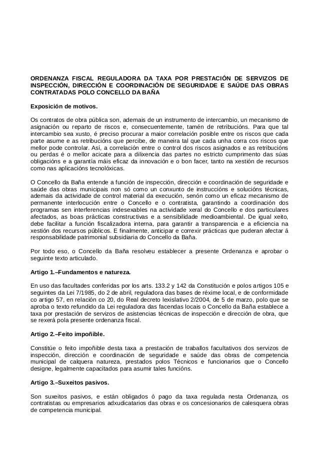 ORDENANZA FISCAL REGULADORA DA TAXA POR PRESTACIÓN DE SERVIZOS DE INSPECCIÓN, DIRECCIÓN E COORDINACIÓN DE SEGURIDADE E SAÚ...
