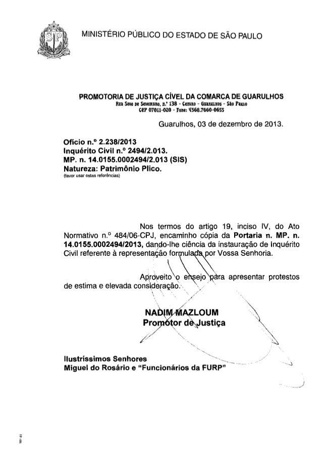 MINISTÉRIO  PROMOTORIA  PÚBLICO  DO ESTADO DE SÃO PAULO  DE JUSTiÇA CíVEL DA COMARCA DE GUARUlHOS  Ru:a Sele De SfteJllB1l...