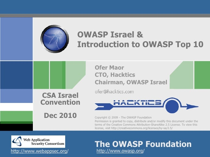 OWASP Israel &                            Introduction to OWASP Top 10                               Ofer Maor            ...