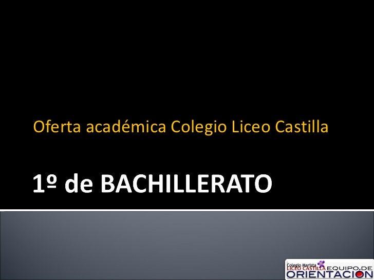 Oferta académica Colegio Liceo Castilla