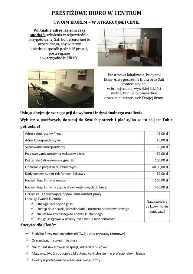 PRESTIŻOWE BIURO W CENTRUM TWOIM BIUREM – W ATRAKCYJNEJ CENIE Wirtualny adres, sale na czas spotkań, szkolenia w odpowiedn...