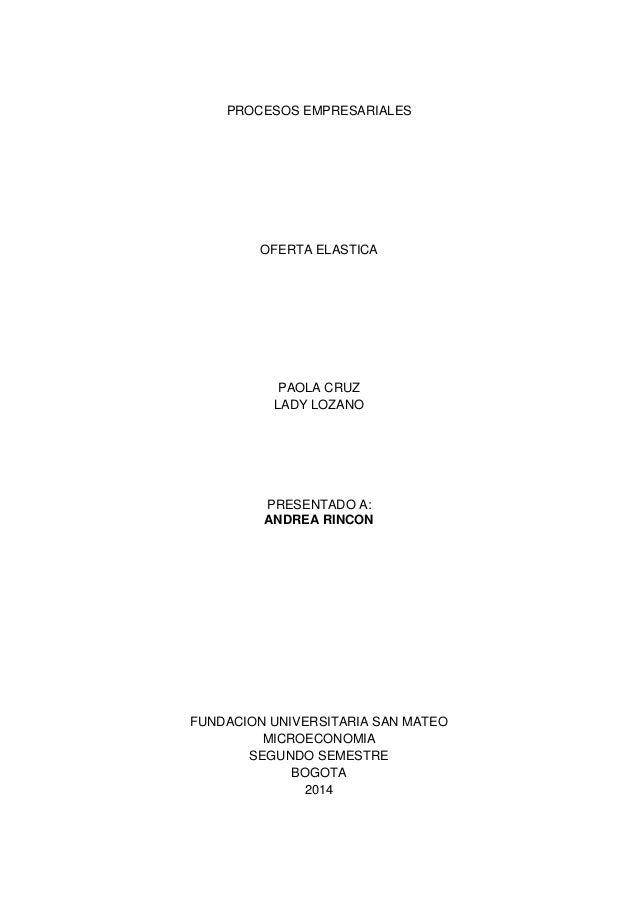 PROCESOS EMPRESARIALES OFERTA ELASTICA PAOLA CRUZ LADY LOZANO PRESENTADO A: ANDREA RINCON FUNDACION UNIVERSITARIA SAN MATE...