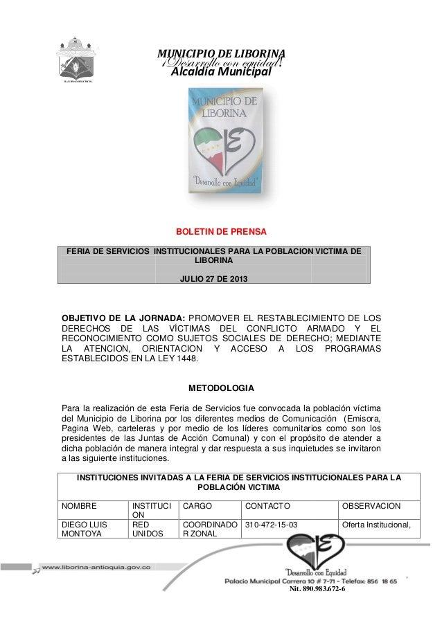FERIA DE SERVICIOS INSTITUCIONALES PARA LA POBLACION VICTIMA DE OBJETIVO DE LA JORNADA: DERECHOS DE LAS RECONOCIMIENTO COM...