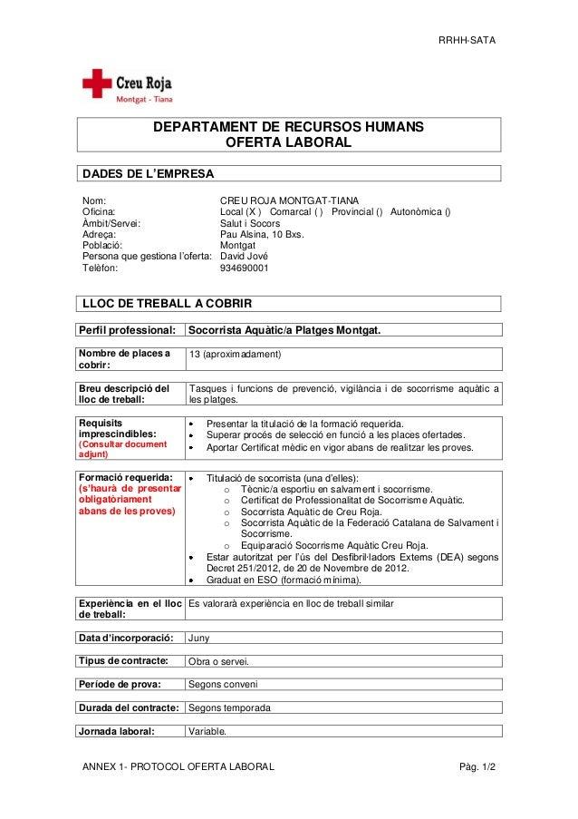 RRHH-SATA ANNEX 1- PROTOCOL OFERTA LABORAL Pàg. 1/2 DEPARTAMENT DE RECURSOS HUMANS OFERTA LABORAL DADES DE L'EMPRESA Nom: ...