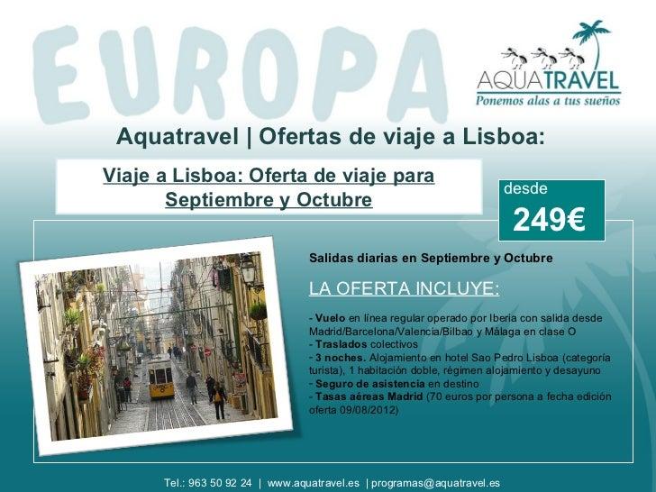Aquatravel | Ofertas de viaje a Lisboa:Viaje a Lisboa: Oferta de viaje para                                               ...