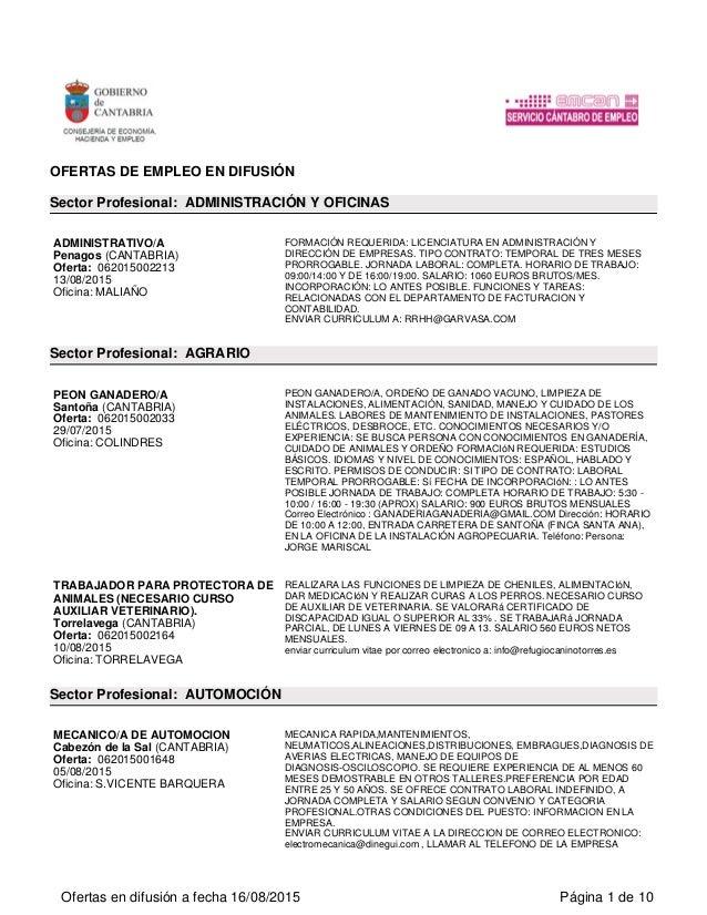 Ofertas del servicio de empleo en Cantabria