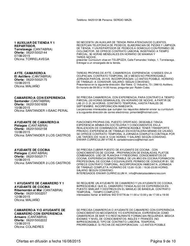 Ofertas del servicio de empleo en cantabria for Oficina empleo cantabria