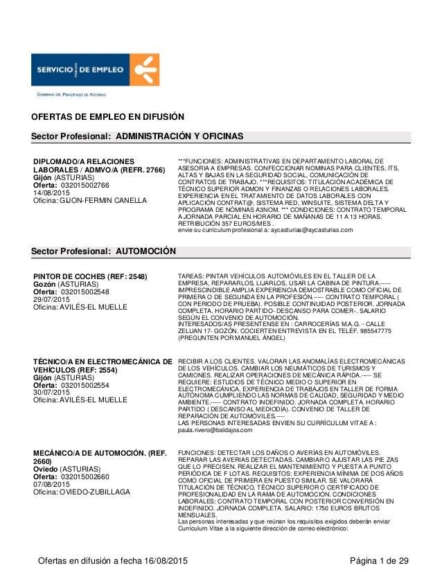 Ofertas de empleo en el Principado de Asturias