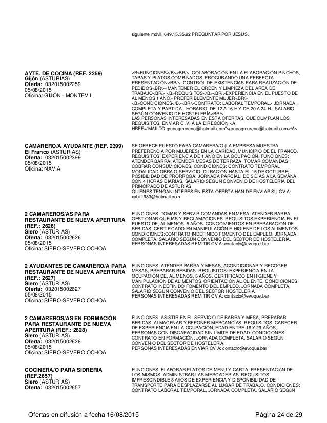 Ofertas de empleo en el principado de asturias for Trabajo cocina asturias