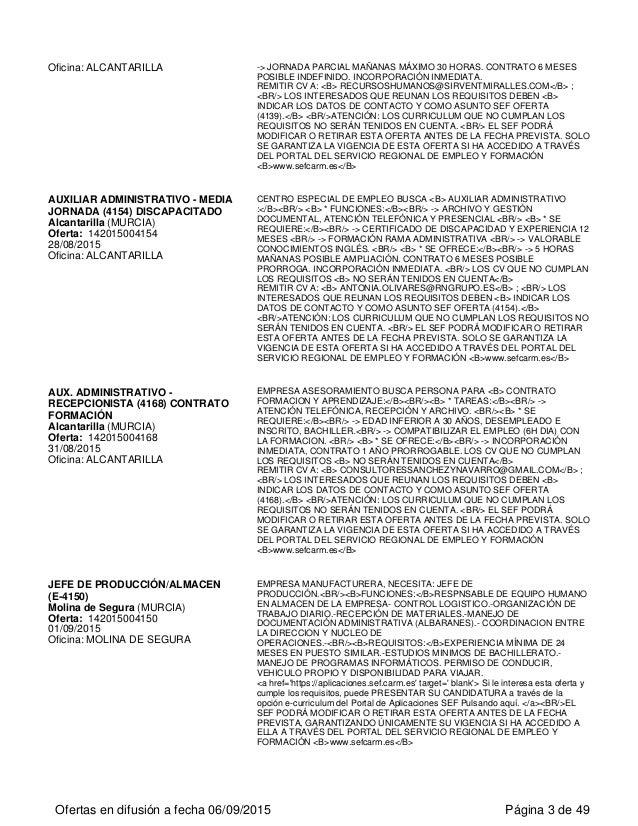 Ofertas de empleo del SERF CAM de la Región de Murcia