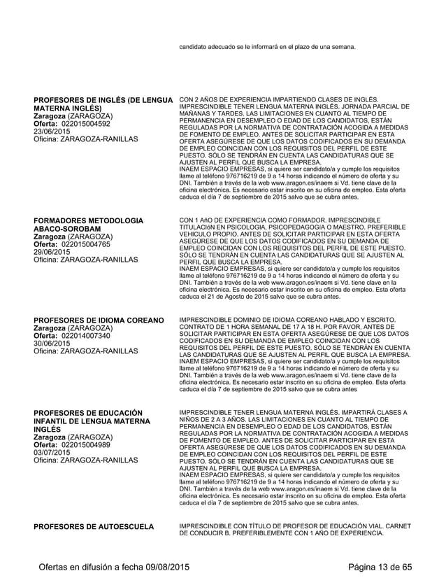 29/06/2015 Oficina: ZARAGOZA-RANILLAS EMPLEO COINCIDAN CON LOS REQUISITOS DEL PERFIL DE ESTE PUESTO. SÓLO SE TENDRÁN EN CU...