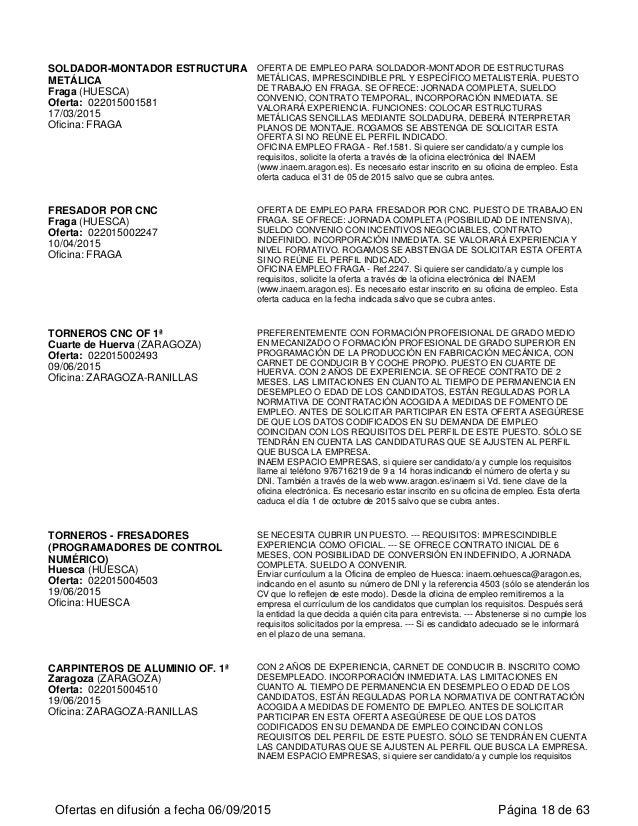 SOLDADOR-MONTADOR ESTRUCTURA METÁLICA Fraga (HUESCA) Oferta: 022015001581 17/03/2015 Oficina: FRAGA OFERTA DE EMPLEO PARA ...