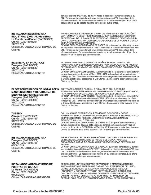 Ofertas de empleo en Aragón