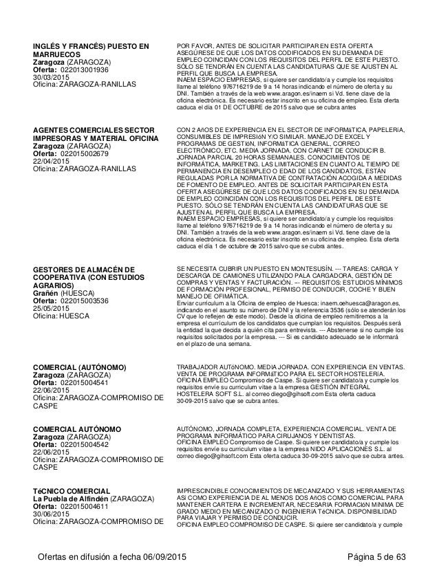 INGLÉS Y FRANCÉS) PUESTO EN MARRUECOS Zaragoza (ZARAGOZA) Oferta: 022013001936 30/03/2015 Oficina: ZARAGOZA-RANILLAS POR F...