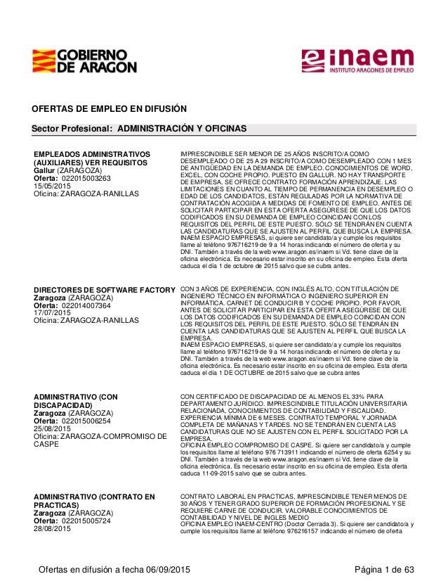 OFERTAS DE EMPLEO EN DIFUSIÓN Sector Profesional: ADMINISTRACIÓN Y OFICINAS EMPLEADOS ADMINISTRATIVOS (AUXILIARES) VER REQ...