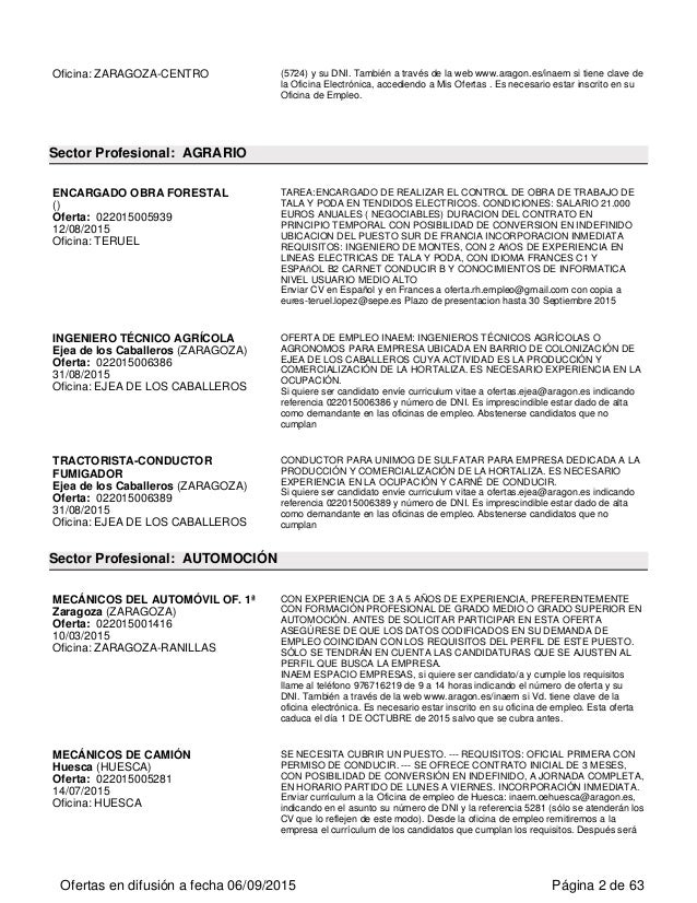Ofertas de empleo en arag n for Inaem oficina electronica