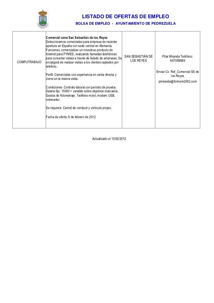 Pedrezuela Ofertas De Empleo 13 De Febrero De 2012