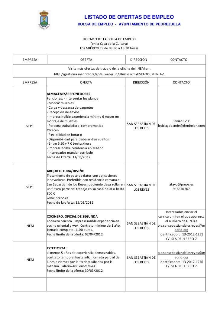 Pedrezuela Ofertas De Empleo Actualidazo 20 De Marzo De 2012