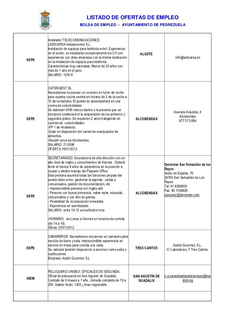 Pedrezuela Bolsa De Empleo 30 De Enero De 2012