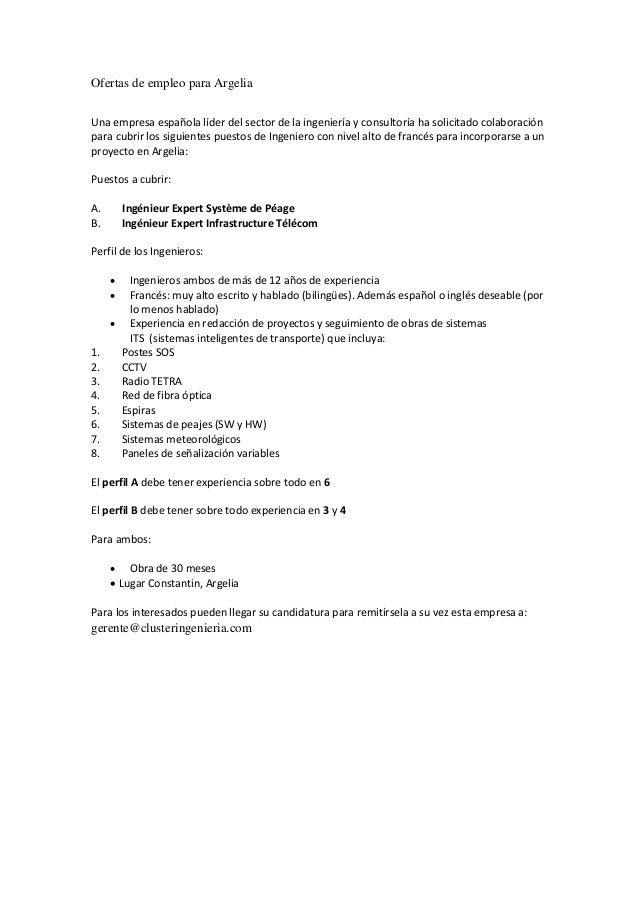 ofertas de empleo para argelia