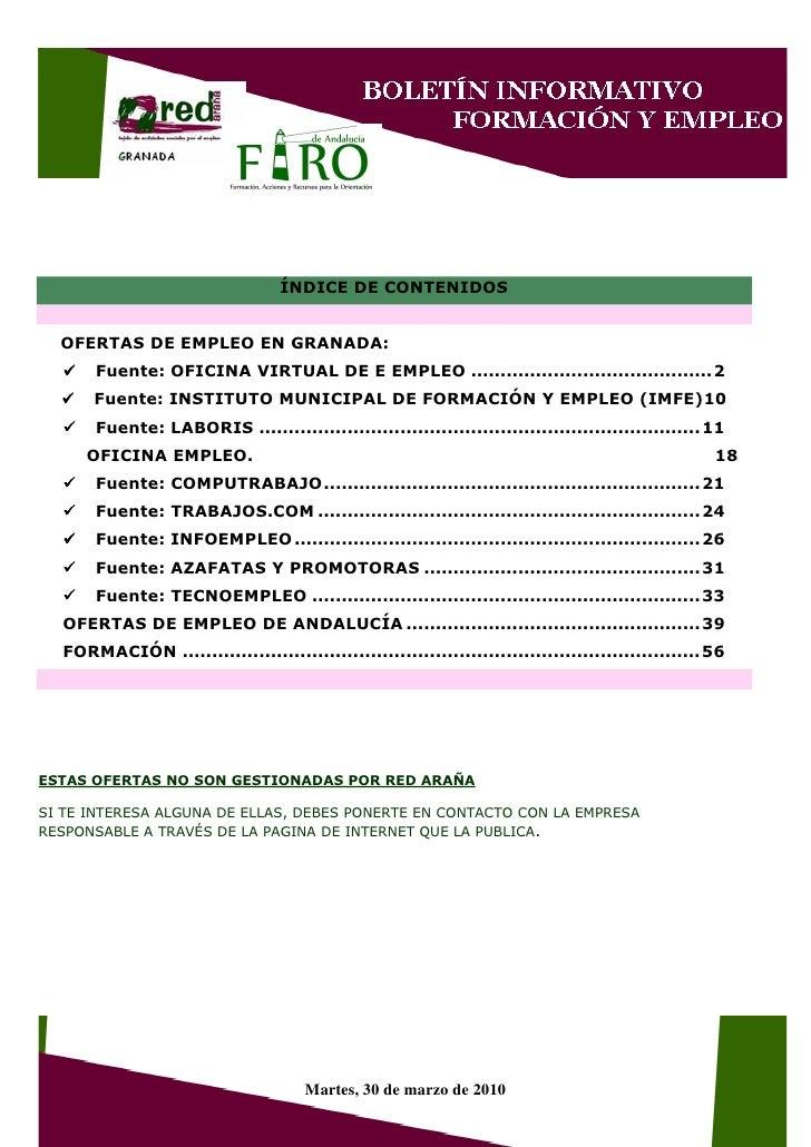 ÍNDICE DE CONTENIDOS     OFERTAS DE EMPLEO EN GRANADA:       Fuente: OFICINA VIRTUAL DE E EMPLEO ............................