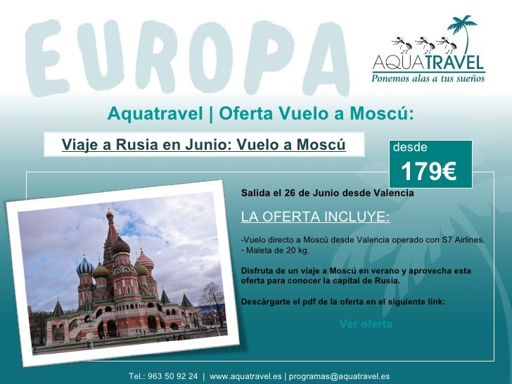 Aquatravel | Oferta Vuelo a Moscú:Viaje a Rusia en Junio: Vuelo a Moscú                                      desde        ...