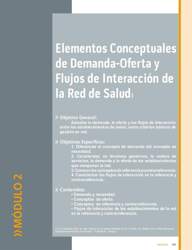 MÓDULO2 Elementos Conceptuales de Demanda-Oferta y Flujos de Interacción de la Red de Salud1 Objetivo General:  Estudiar ...