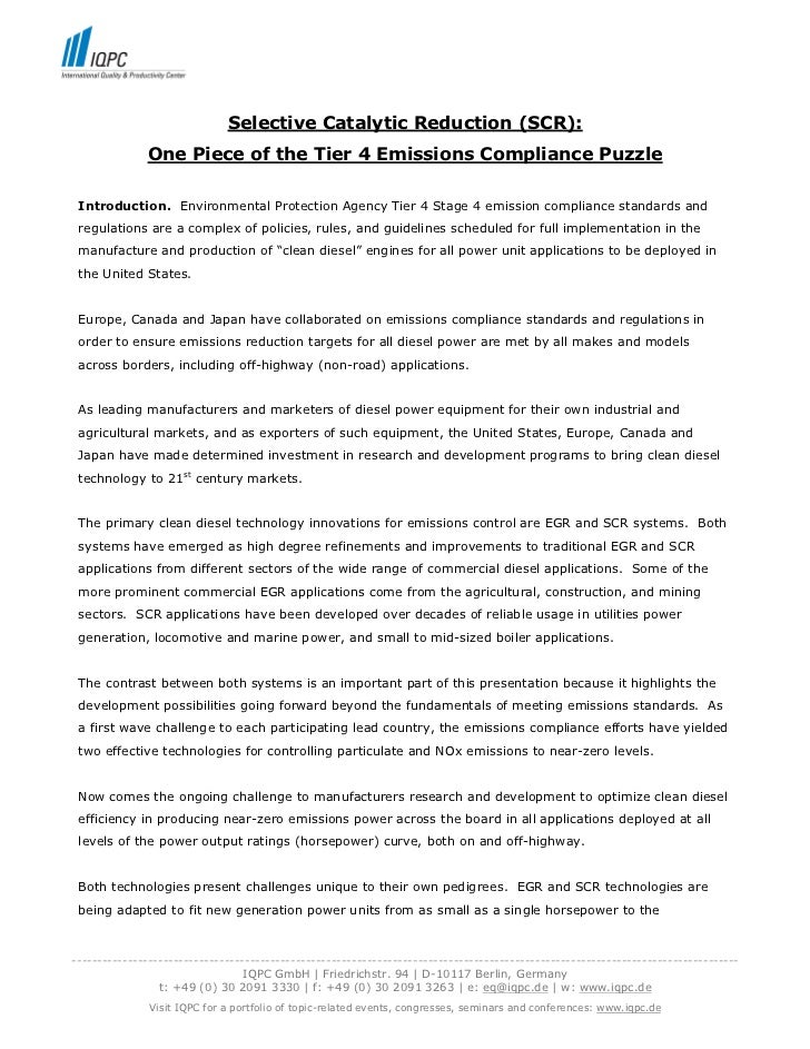 Selective Catalytic Reduction (SCR):              One Piece of the Tier 4 Emissions Compliance Puzzle Introduction. Enviro...
