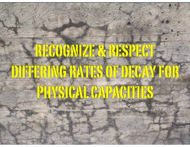 RECOGNIZE&RESPECT DIFFERINGRATESOFDECAYFOR PHYSICALCAPACITIES