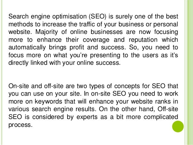 Off site seo to improve your website's page rank - 웹