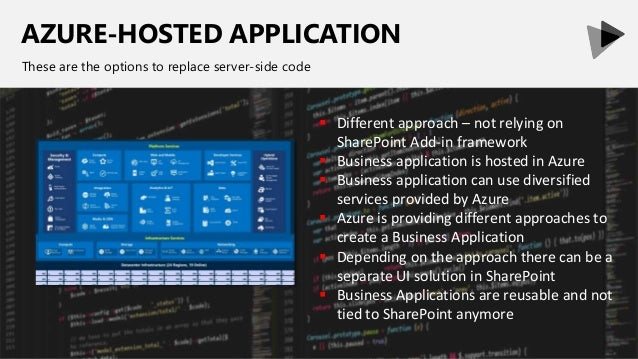 AZURE-HOSTED APPLICATION These are the options to replace server-side code  Different approach – not relying on SharePoin...