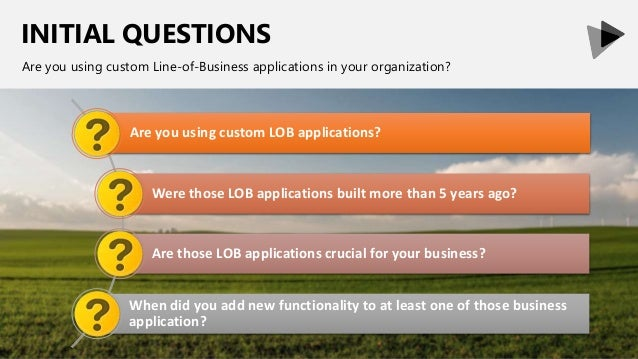 INITIAL QUESTIONS Are you using custom Line-of-Business applications in your organization? Are you using custom LOB applic...