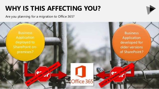 WHY IS THIS AFFECTING YOU? Are you planning for a migration to Office 365? Business Application deployed to SharePoint on-...