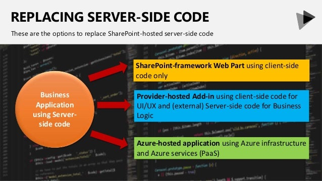REPLACING SERVER-SIDE CODE These are the options to replace SharePoint-hosted server-side code Business Application using ...